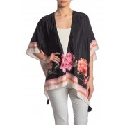 Vince Camuto Floral Border Print Kimono BLACK