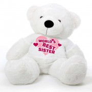 5 feet big white fur face teddy bear wearing Worlds Best Sister T-shirt