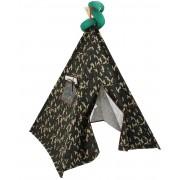 Cabana Infantil em Tecido e Madeira Camuflada com Almofada