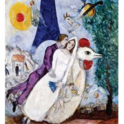 Puzzle din lemn Michele Wilson - Marc Chagall: The Bridal Pair with the Eiffel Tower, 24 piese dificile (4862)