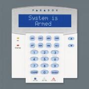 Tastatura LCD monocrom Paradox K641R, 32 caractere cu cititor de proximitate compatibilitate: EVO aceleasi facilitati cu K641+ la care se adauga: cititor de card încorporat, acces permis folosind card şi/sau cod de acces, armare/dezarmare cu card, alar