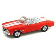 1:24 1971 ORANGE w WHITE CHEVY CHEVELLE SS 454 CONVERTIBLE WELLY DIECAST CAR