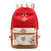 ABage Girl's Canvas Backpack Lace Floral Lightweight Bookbag Laptop School Backpacks, Watermelon Red1