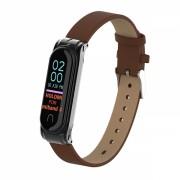 Curea din piele ecologica pentru bratara fitness Xiaomi Mi Band 3 / 4 , maro