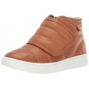 MARC JOSEPH NEW YORK Kids Boys/Girls Leather Made in Brazil Hightop Velcro Sneaker, Tan Grainy, 3 M US Little