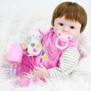 Vinmax Soft Soft Body Play Doll Silicone Vinyl Dolls Reborn Baby Brown Wig Girl Handmade Body Lifelike Babies Toys,18 inch