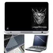 FineArts Laptop Skin Transformers Logo on Corner With Screen Guard and Key Protector - Size 15.6 inch