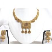 Golden Stone Big Square Pendant Necklace Set
