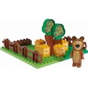Set constructie cuburi Unico Masha si Ursul Galetusa cuburi Gradina Mishei 21 piese