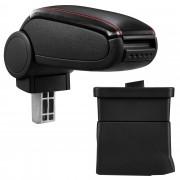 Подлакътник [pro.tec]® Ford Ka с контейнер за съхранение, Изкуствена кожа, Черен, червен шев