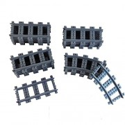 Railroad Train Tracks 18 straight + 6 curved tracks Non-Powered Rail Compatible with all Major Brands Train Track City Railroad Construction Toy
