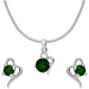 Mahi with Crystal Elements Green Victorian Heart Rhodium Plated Pendant Set for Women NL1104141RGre