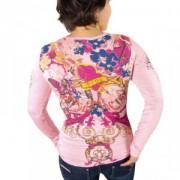 Top sexy décolleté rose motifs sérigraphiés tendances coeur pink