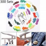 Generic 30 Colors 300 Sets Kam Snaps T5 Snap Starter Plastic Popper Fastener Plier