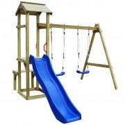 vidaXL Detské ihrisko z borovicového dreva so šmýkačkou a húpačkami, 238x228x218 cm (43267+91224+90980)