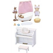2 Different Sylvanian Families Sets Bathtub And Piano Music And Bathroom Play