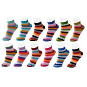 Nandini New style 12 Pair Women Striped Free Size Cotton Ankle Length Socks Pink Blue Grey Orange Purple Brown multi Color