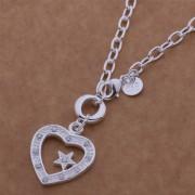 Colier placat argint pandantiv inimioara cu steluta Sara
