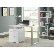 Silver finish metal frame and white wood finish top computer student desk with 3 drawer cabinet