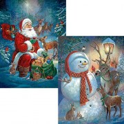 Bits and Pieces - Set of Two (2) 300 Piece Jigsaw Puzzles for Adults - Snowman Welcome, Santa's Woodland Friends - 300 pc Christmas Santa Winter Holiday Jigsaws by Artist Ruane Manning