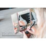RoRo Living® rosé goud stijlvolle make-up spiegel met LED verlichting, 2x en 3x vergroting, inclusief batterijen en usb kabel