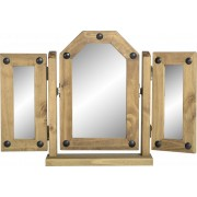 Corona Triple Swivel Mirror in Distressed Waxed Pine