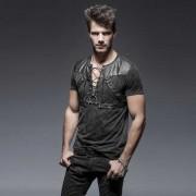 Punk Rave Predator Belted & Lace Up V Neck Short Sleeved T Shirt Black T-424