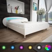 vidaXL Krevet s LED 180 x 200 cm Umjetna Koža Bijeli