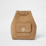 River Island Girls light Brown chain bucket backpack (One Size)