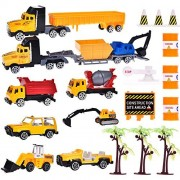 Fun Little Toys Construction Hero Role Play Action Vehicle Boy's Play Birthday Party Educational Set with Diggers, Mixing Truck, Construction Trucks, Helicopter, and Accessories 20pcs