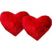 Tahiro Red Heart Shape Soft Pillow - Pack Of 2