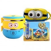 GRAPPLE DEALS Kid's Cartoon Character Printed Soft Multipurpose Pouch Plus Lunch Box (Yellow)