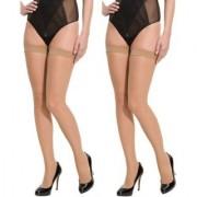Neska Moda Women 2 Pair Nylon Beige Thigh Highs Stockings