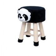 Valtellina Panda Animal Shaped Ottoman/Foot Stool for Kids 30x30x42CMS- Black
