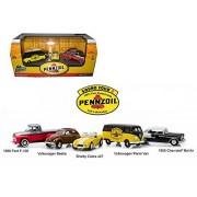 Motor World Pennzoil Service Station 5 Car Set 1/64 By Greenlight 58025