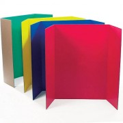 Class Display Boards - 4 Coloured Presentation Boards made from reusable sturdy corrugated card. Tri-fold structure, size 122cm x 91cm
