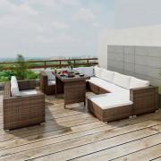 vidaXL Set mobilier de exterior 28 piese, maro, poliratan