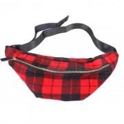 Merkloos Zwarte/rode Schotse ruit heuptas/fanny pack/cross body schoudertas 40 cm
