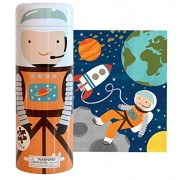 Petit Collage Tin Canister Jigsaw Floor Puzzle, Into Space, 64 Pieces