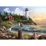 The Jigsaw Puzzle Factory Coastal Gull Point Lighthouse (1000 Piece) Toy, Multicolor