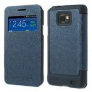 Кожен калъф с прозорец за Samsung Galaxy S 2 i9100 - син