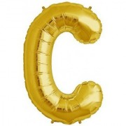 Stylewell 16 Inch Alphabet (C) Soild (Golden) Color 3D Foil Balloons For Birthday And Anniversary Parties Decoration