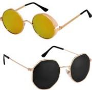 Rich Club Round Sunglasses(Golden, Black)