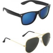Zyaden Wayfarer, Aviator Sunglasses(Multicolor, Black)