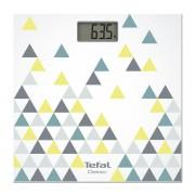 Cântar de baie Tefal Classic Decor PP1145V0, 160 kg, Gradație 100 g, Pornire/oprire automată, Display LCD, Alb cu un decor Scandinavian