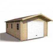 Madeira Garage en bois emboité brut 3,98 x 6,85 m + Avancée de 60 cm