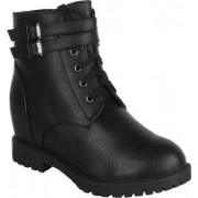 Authentic Vogue Authentic Vogue Womens Leather Black Boot Boots For Women(Black)