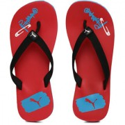 Puma Unisex Black Red Pop Art IDP Printed Flip-Flops