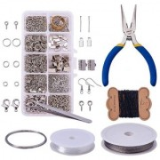 DIY Crafts Jewelry Making Kit Jewelry Findings Starter Kit Jewelry Beading Making and Repair Tools Kit Jewelry Findings Accessories Pliers Wire Starter Tool Platinum