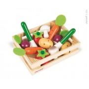 JANOD Warzywa drewniane 12 szt. w skrzyneczce - skrzynka z warzywami do zabawy,